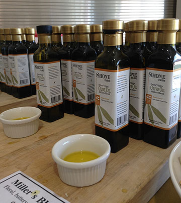 Bottles of Shone Farm olive oil
